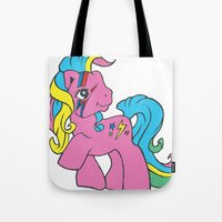 my little pony Tote Bags featuring My Little Bowie Pony by Melina Espinoza