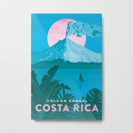 Costa Rica, Volcano Arenal Vintage Travel Poster Metal Print