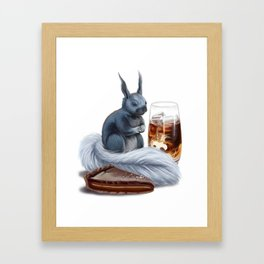 Iced coffee, salted caramel chocolate tart, and kaibab squirrel Framed Art Print