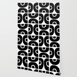 Groovy Mid Century Modern Pattern Black and White Wallpaper