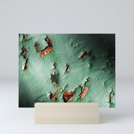 Cool turquoise brown rusty metal Mini Art Print