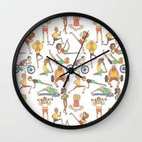 gym Wall Clocks featuring Gym Buddies by Sid's Shop