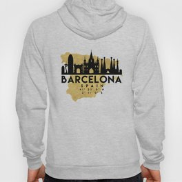 BARCELONA SPAIN SILHOUETTE SKYLINE MAP ART Hoody