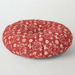 Chinese New Year of The Rat Pattern - Red and Gold #3 Floor Pillow