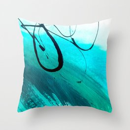 Moving On: an abstract mixed media piece in blue, greens, black and white by Alyssa Hamilton Art Throw Pillow