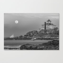 Surf's Over B&W Canvas Print