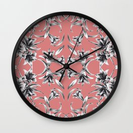 Lilium floral mirror Wall Clock