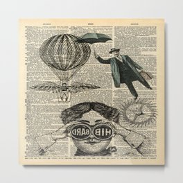 newspaper print dictionary page binoculars hot air balloon victorian steampunk Metal Print