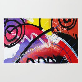 I Feel Fine - Whirly Swirls Splashy Aqua Turquoise Blue Red Yellow  Fine Art Abstract Painting Rug