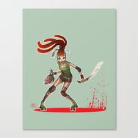 roller derby Canvas Prints featuring Roller Derby by Doriane  *BamboO*
