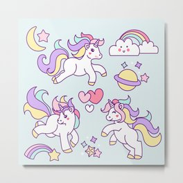 Sketches of unicorn with lovely elements Metal Print