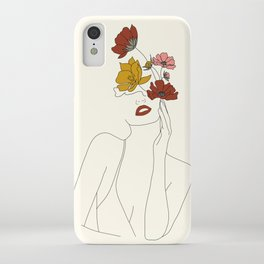 Colorful Thoughts Minimal Line Art Woman with Flowers iPhone Case