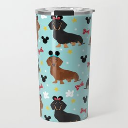 Dachshund theme park dog - black and tan and red doxies Travel Mug