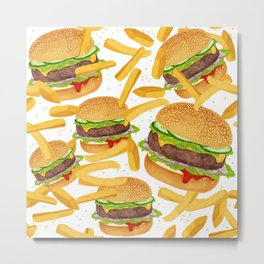 hamburgers and french fries pattern Metal Print
