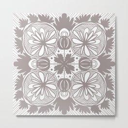 gray floral Metal Print