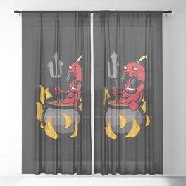 Funny Illustration Chili Pepper Sheer Curtain