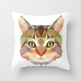 Geometric Cat Face Throw Pillow