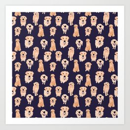 Golden Retrievers on Navy Art Print