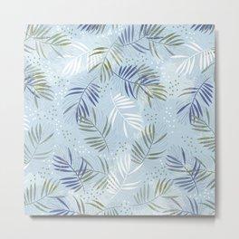 Pretty tropical Palm leaf pattern illustration - blue, kaki #tropicalart Metal Print