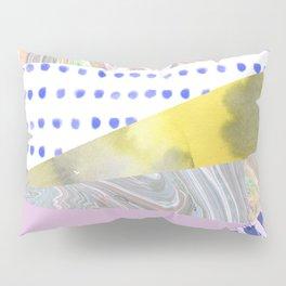 Modern geometrical pink navy blue yellow watercolor marble Pillow Sham