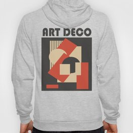 Geometrical abstract art deco mash-up scarlet beige Hoody
