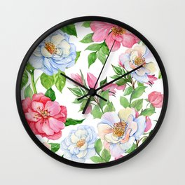 Vintage Romantic Floral Bouquet Pattern in Pink Pastels Wall Clock