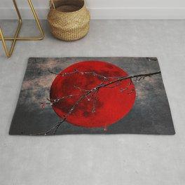 Modern Blood Red Moon Rain Gothic Decor A175 Rug