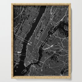 New York City Black Map Serving Tray