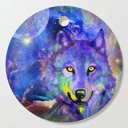 NEBULA WOLF OF MY DREAMS VIOLET BLUE Cutting Board
