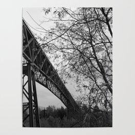 Eiffel. The mystery train bridge. BW Poster