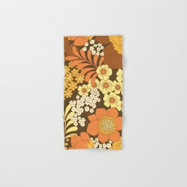 Brown, Yellow, Orange & Ivory Retro Flowers Hand & Bath Towel
