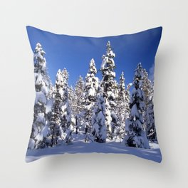 Snow covered trees in the forest. Winter day with blue sky. Throw Pillow