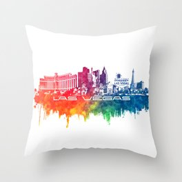 Las Vegas skyline city color Throw Pillow