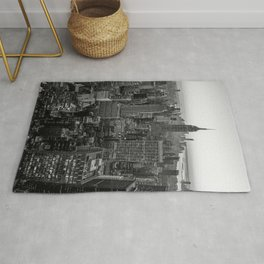 New York Skyline - Manhattan Black and White Rug