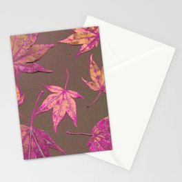 Japanese maple leaves - neon pink on khaki Stationery Cards