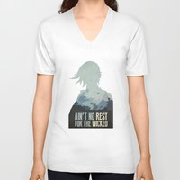 borderlands V-neck T-shirts featuring Borderlands 2 - Ain't No Rest for the Wicked by Art of Peach