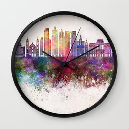 Buenos Aires V2 skyline in watercolor background Wall Clock