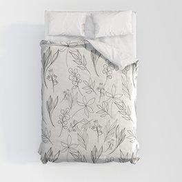 Trendy Black & White Hand Drawn Leaves Cute Design Comforters