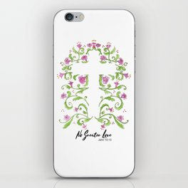 No Greater Love Floral Cross iPhone Skin