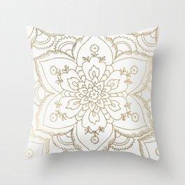 Chic elegant white faux gold spiritual floral mandala Throw Pillow