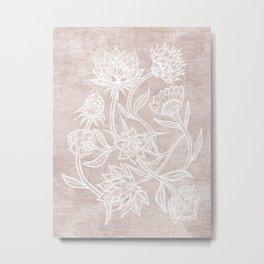 White botanical lineart on modern boho dusty pink linen Metal Print