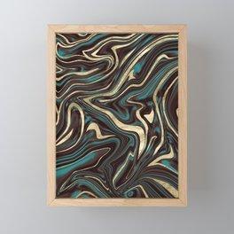 Turquoise Brown Gold Marble #1 #decor #art #society6 Framed Mini Art Print