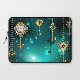 Antique Keys on Green Background ( Steampunk ) Laptop Sleeve