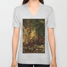 Brook Study At Warwick 1873 By David Johnson | Reproduction | Romanticism Landscape Painter Unisex V-Neck