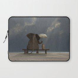 elephant and dog sit under the rain Laptop Sleeve