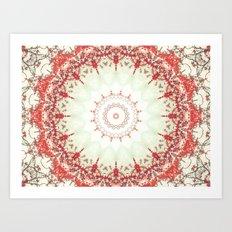 Autumn's Splendor Mandala -- Russet Red Leaves on Pale Mint Art Print