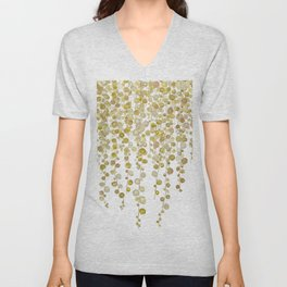 golden string of pearls watercolor 2 Unisex V-Neck