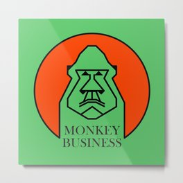 Monkey Business Green Metal Print