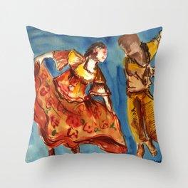 Watercolor Folklore dance Carimbo - joy and fun Throw Pillow
