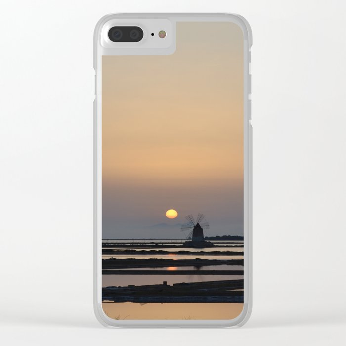 windmill at sunset Clear iPhone Case